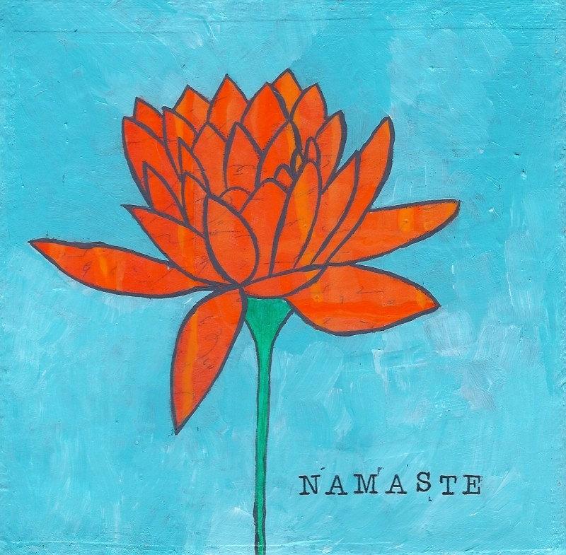 6x6 Namaste Lotus Flower Mixed Media Original Art