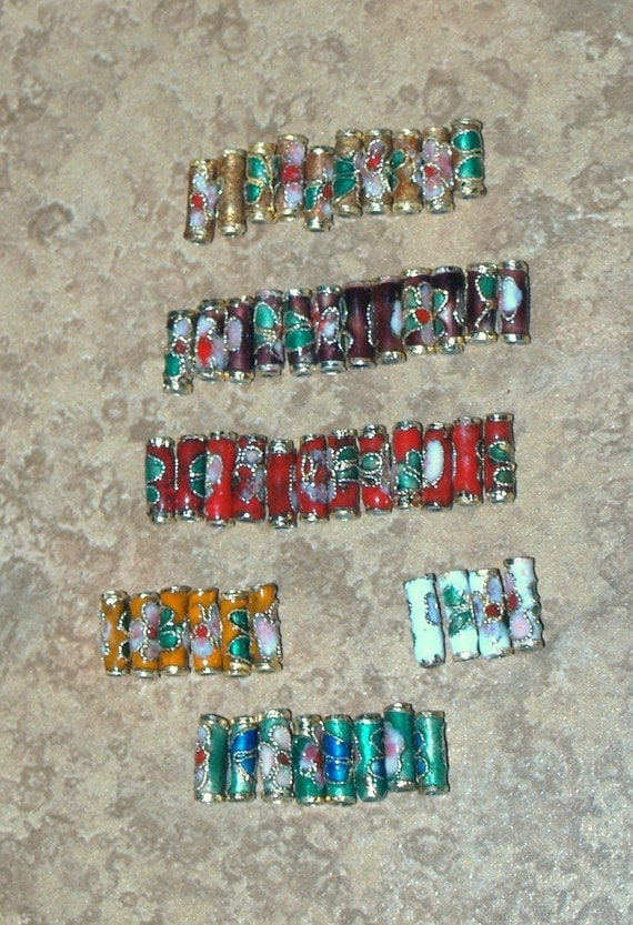 52 Cloisonne Tube Beads 6 Different Colors 10mm x 3mm