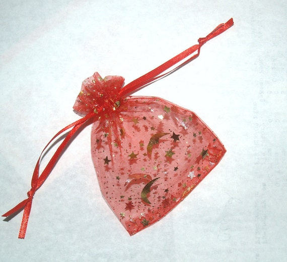 30 Organza Bags Red Moon and Star and Plain 3 Sizes