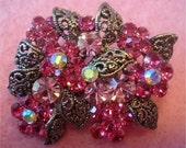 Beautiful flowers rhinestone brooch pink with aurora borealis finish swarovski shine