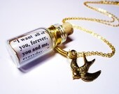 Precious Quote in a Bottle necklace. The Notebook by Nicholas Sparks. Gold. Anniversary Birthday Gift