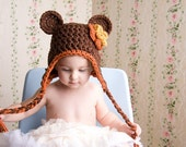 "Teddy Bear Hat with Earflaps, Braids & Flower (Sz: Toddler) ""Choose Your Own Color"""