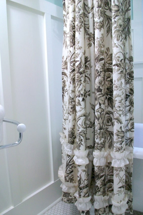 Linen Toile Shower Curtain