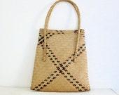 Vintage Woven Straw Purse Handbag Tote and Case