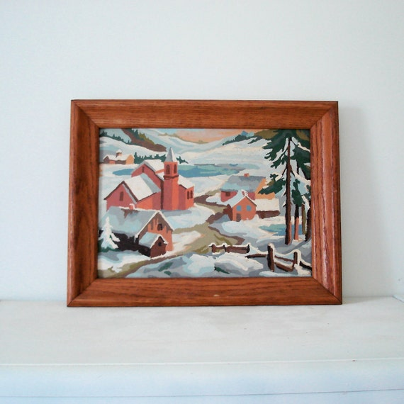 Vintage Paint by Numbers Wall Hanging Art Paiting - Snowy Winter Village