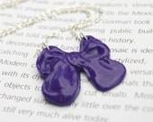 Purple Pretty Bow Necklace