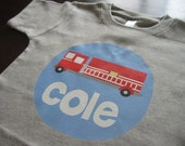 Personalized FIRE ENGINE Baby or Toddler Tee - Available in various colors and sizes