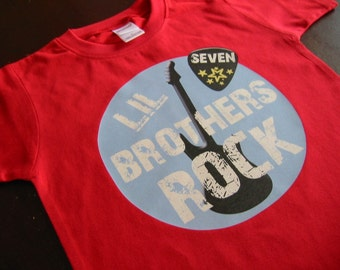 Personalized LITTLE BROTHERS ROCK - Baby Bodysuit or Toddler Tee -  Available in various colors and sizes