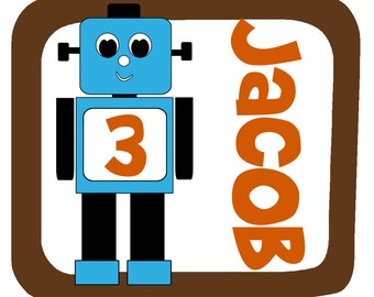 Personalized Robot Birthday Design - Baby Bodysuit or Toddler Tee - Available in various colors and sizes