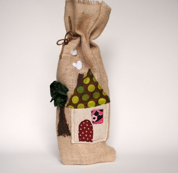 Welcome Home burlap wine bottle bag