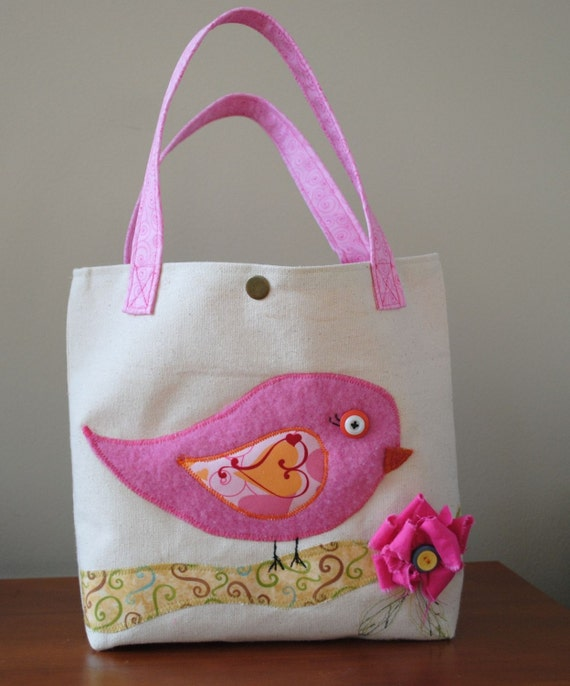 Small Canvas tote bag with little pink birdie