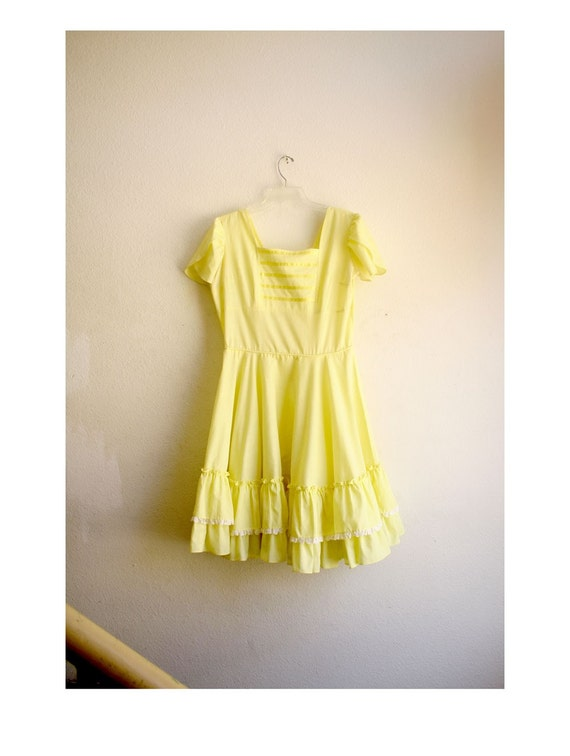 50s Yellow Party Ruffled Party Dress