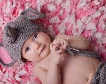 SALE  Baby or child diaper cover & hat set  Elephant   0-3 mths or any size to 18mth same price Pink,blue or Gray