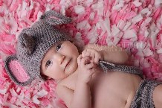 Baby or toddler hat  Elephant   0-3 mths or any size to 18mth same price  Email me for larger size cost