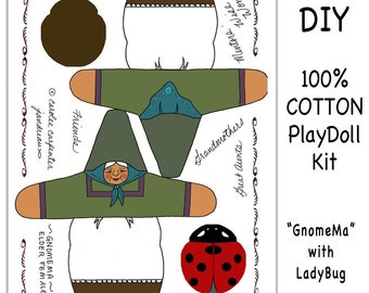 DIY GNOME DOLL - Cloth Panel Sewing Kit - GnomeMa Elder Female - Free Shipping Continental United States