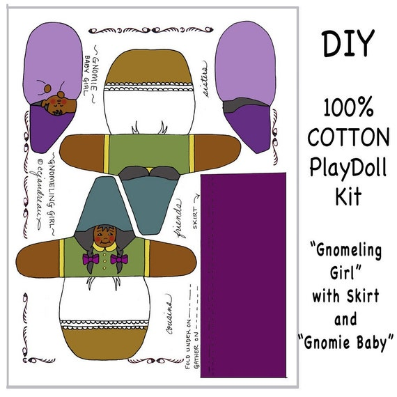 DIY GNOME KIT - Brown Gnomeling & Gnomie Girls Cloth Panel Sewing Kit - Free Shipping Continental United States
