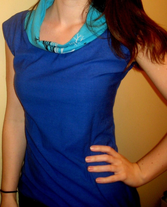 Two Blue Cowl Tee