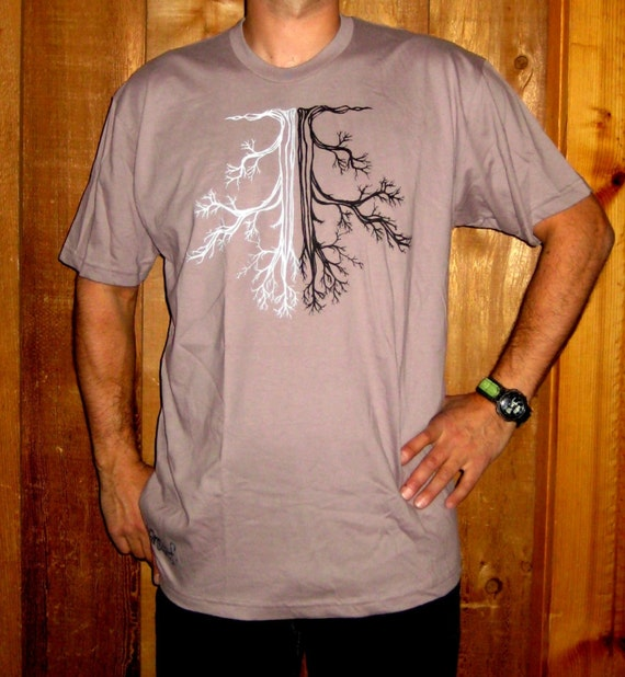 Mens Gray Organic Cotton Oak Tree Tshirt XL