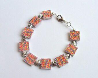 Polymer Clay Neon Mosaic Bead Bracelet