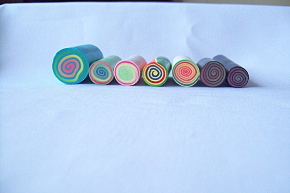 Lot of 7 Raw Polymer Clay Jellyroll Canes