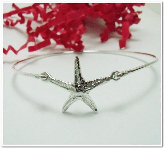 Starfish Bangle Bracelet - Sterling Silver