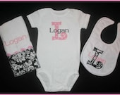 Baby Girl Initial Gift Set - Onesie, Burp Cloth and Bib