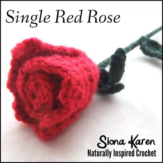 Single Red Rose Crochet Pattern PDF
