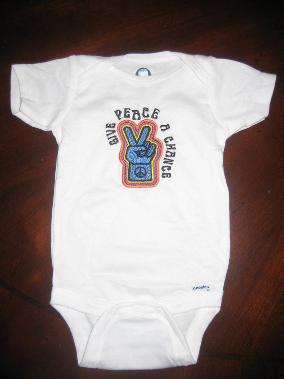 Newborn Give Peace a Chance embroidered onesie