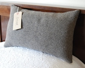 Large vintage army blanket grey wool pillow with kapok 10 x 18