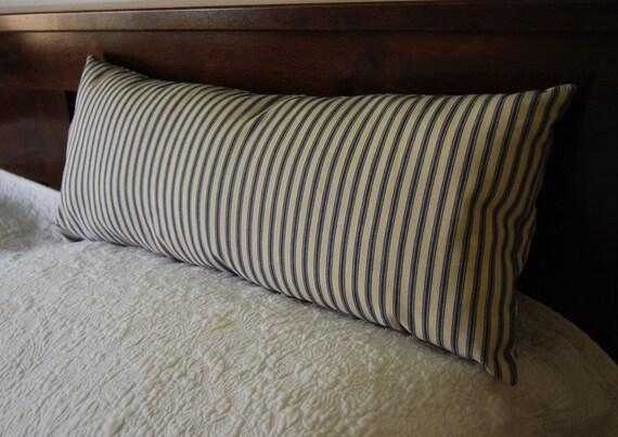 Items Similar To Ticking Bolster Pillow Long Cushion Blue White Striped Kapok Garden Bench 8x 22
