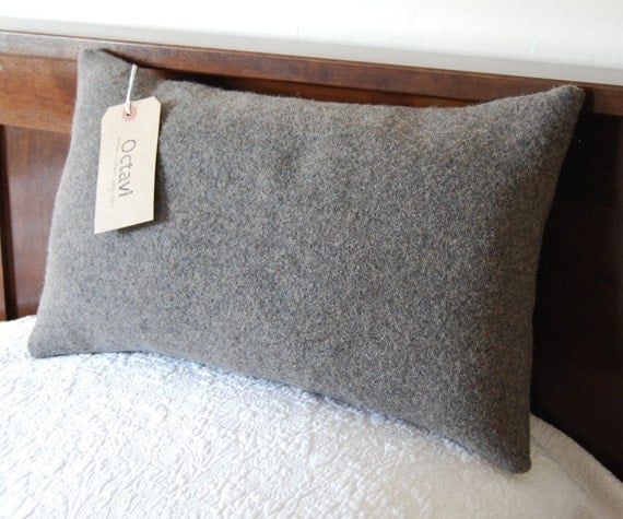 Grey Wool Throw Pillow : Large vintage army blanket grey wool pillow with kapok 10 x 18