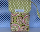 The Last Available--Diaper Clutch--The Emily Collection in Bright Pinks, Golds and Browns Florals and Dots (K)