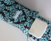 Diaper Clutch in Chocolate Brown and Aqua Blue Damask--The Tate Collection (K)