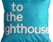 to the lighthouse- aqua turquoise dupion silk typographic appliqué cushion