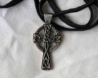 Celtic Rose Cross Sterling Silver Pendant - Made to order