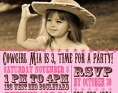 Rootinest Tootinest Cowgirl Birthday Invitation digital file