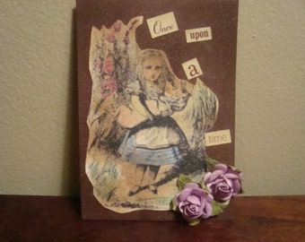 Alice In Wonderland ACEO, Vintage Style, with Paper Lavender Flowers with 3-D Effect