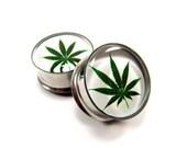 Pot Leaf Picture Plugs gauges - 16g, 14g, 12g, 10g, 8g, 6g, 4g, 2g, 0g, 00g, 1/2, 9/16, 5/8, 3/4, 7/8, 1 inch