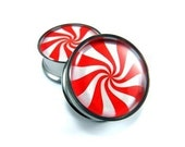 Peppermint Picture Plugs gauges - 16g, 14g, 12g, 10g, 8g, 6g, 4g, 2g, 0g, 00g, 7/16, 1/2, 9/16, 5/8, 3/4, 7/8, 1 inch