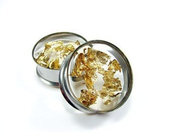 Embedded Gold Flake Plugs gauges - 5/8, 3/4, 7/8, 1 inch