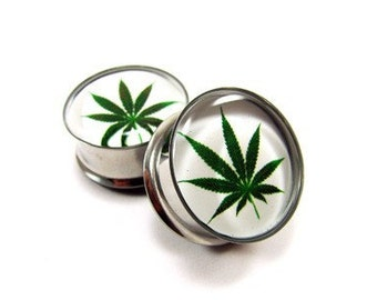 Pot Leaf Picture Plugs gauges - 16g, 14g, 12g, 10g, 8g, 6g, 4g, 2g, 0g, 00g, 1/2, 9/16, 5/8, 3/4, 7/8, 1 inch