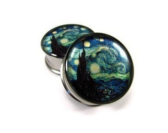 Starry Night Picture Plugs gauges - 16g, 14g, 12g, 10g, 8g, 6g, 4g, 2g, 0g, 00g, 7/16, 1/2, 9/16, 5/8, 3/4, 7/8, 1 inch