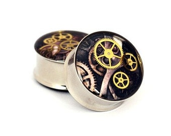 Steampunk Watch Parts Picture Plugs gauges - 1 1/8, 1 1/4, 1 3/8, 1 1/2 inch STYLE 7