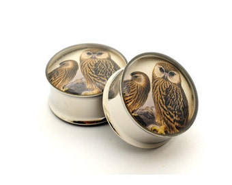 Owl Picture Plugs gauges - 1 1/8, 1 1/4, 1 3/8, 1 1/2 inch STYLE 1