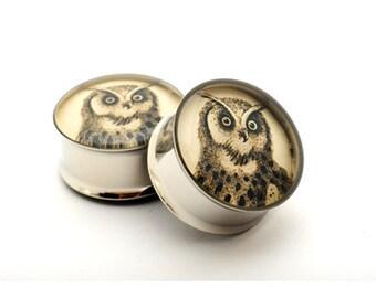 Owl Picture Plugs gauges - 16g, 14g, 12g, 10g, 8g, 6g, 4g, 2g, 0g, 00g, 1/2, 9/16, 5/8, 3/4, 7/8, 1 inch STYLE 4