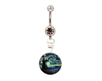 Starry Night Picture Dangling Belly Ring navel 14g