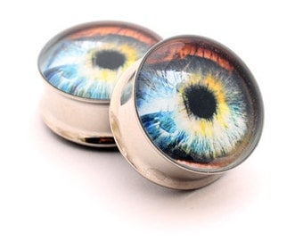 Eyeball Picture Plugs gauges - 1 1/8, 1 1/4, 1 3/8, 1 1/2 inch STYLE 5