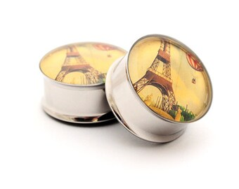 Eiffel Tower Picture Plugs gauges - 00g, 1/2, 9/16, 5/8, 3/4, 7/8, 1 inch STYLE 2