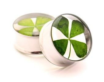 "Real 4 Leaf Clover Embedded Plugs gauges - 5/8"", 3/4"", 7/8"", 1"", 28mm, 32mm, 35mm, 38mm"