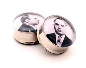 Al Capone Mugshot Picture Plugs gauges - 16g, 14g, 12g, 10g, 8g, 6g, 4g, 2g, 0g, 00g, 7/16, 1/2, 9/16, 5/8, 3/4, 7/8, 1 inch